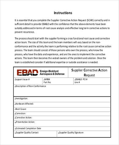 quality corrective action form