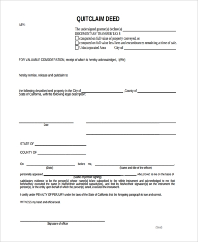 quick claim deed form pdf