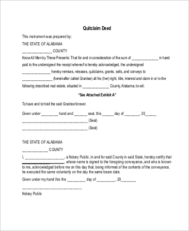 Sample Quitclaim Deed Form Quitclaim Deed Blank Sample Quitclaim