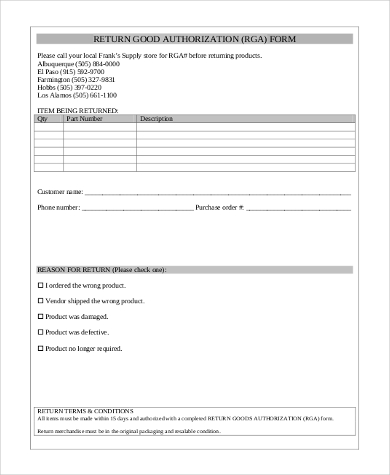 return good authorization form
