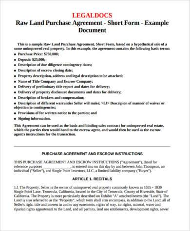 raw land purchase agreement