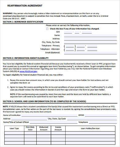 Sample Reaffirmation Agreement Forms 8 Free Documents In Word Pdf