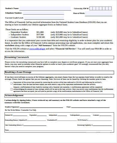 reaffirmation agreement form student loans