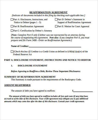 reaffirmation agreement form in word format