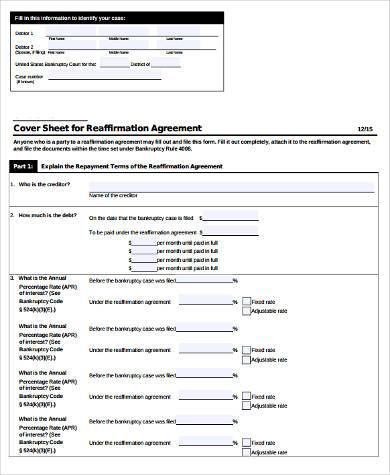 reaffirmation agreement official form