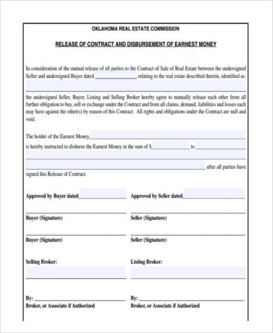 real estate contract release form