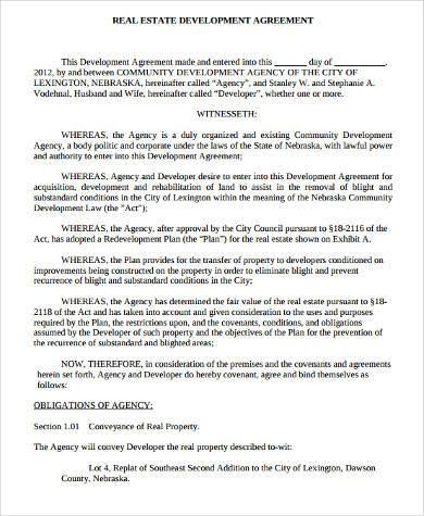 real estate development agreement form