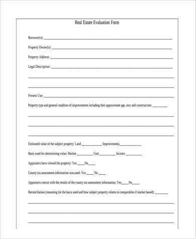real estate evaluation form in pdf