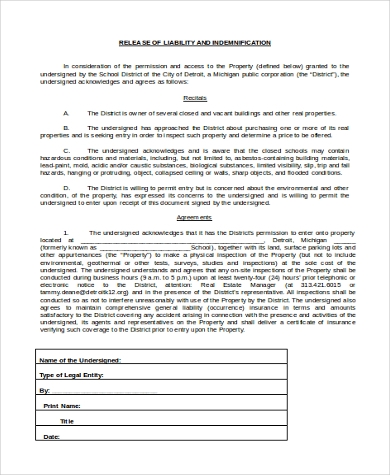 General Release Of Liability Form   Free Documents In Word Pdf