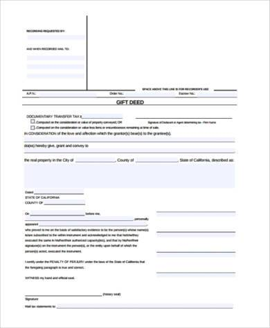 Sample Deed Of Gift Form 7 Samples Examples Format Sample In