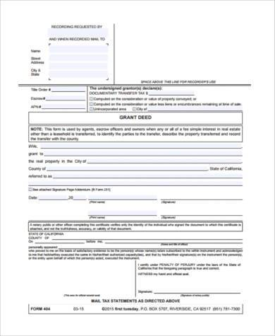 Sample Real Estate Deed Forms - 9+ Free Documents In Word, Pdf