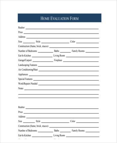real estate home evaluation form