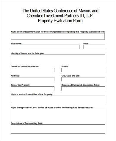 real estate investment evaluation form