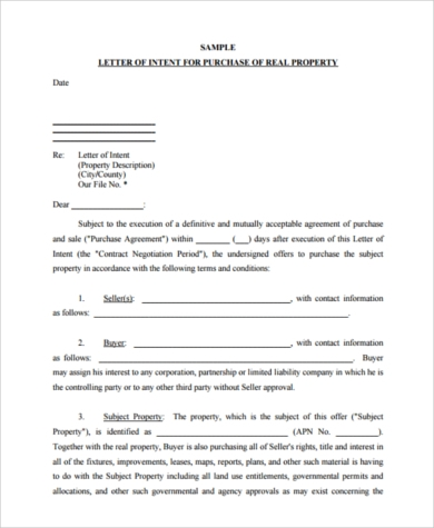 real estate offer letter form
