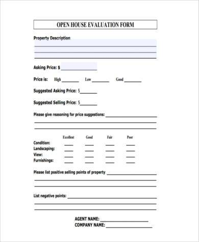 real estate open house evaluation form
