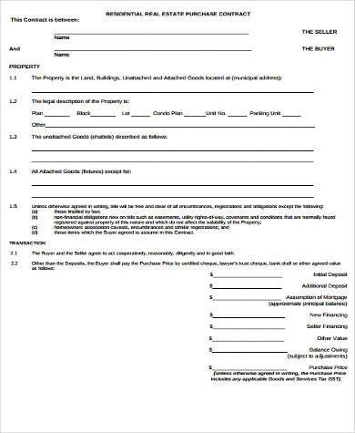 Sample Real Estate Purchase Forms - 8+ Free Documents In Word, Pdf