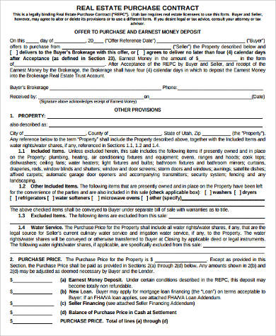 Sample Real Estate Contract Forms Free Documents In Word PDF - Real estate purchase contract template