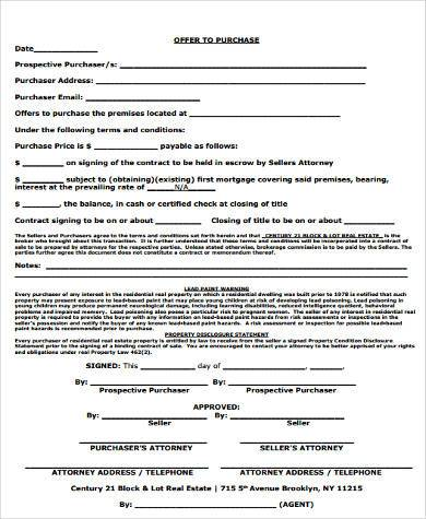 real estate purchase offer form2