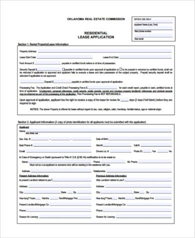 real estate rental lease form