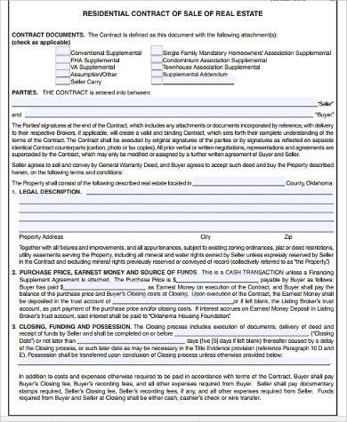 Sample Real Estate Contract Forms   Free Documents In Word Pdf