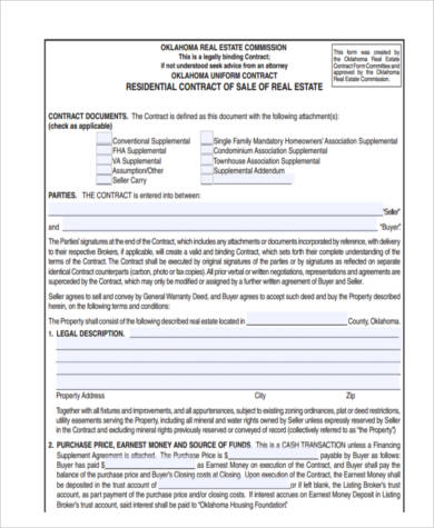 Real Estate Contract Form Samples   Free Documents In Word Pdf