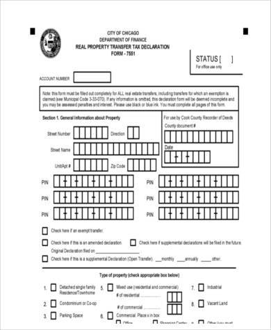 real estate tax declaration form