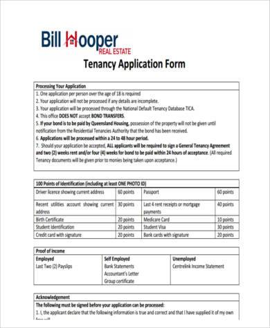 real estate tenancy application form
