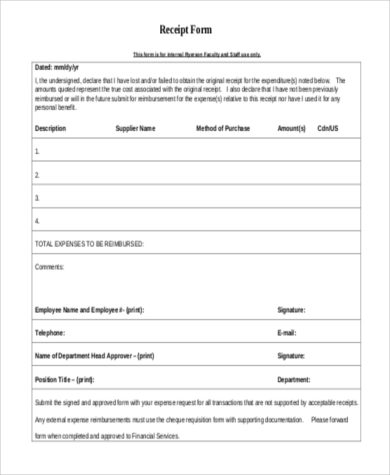 receipt sample format