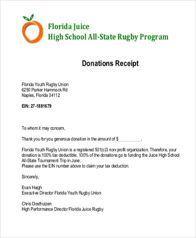 receipt of donation letter pdf