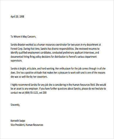Sample Recommendation Letter From Employer 9 Free Documents In