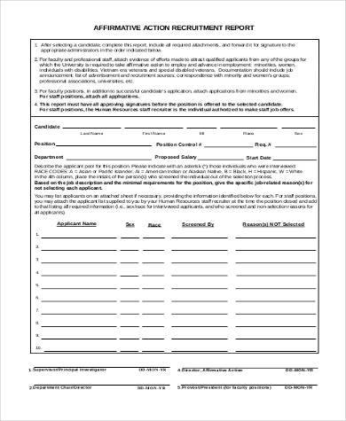 recruitment action report form