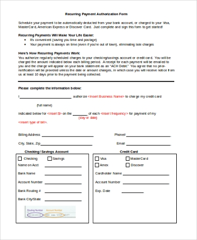 Sample Payment Authorization Forms   Free Documents In Word Pdf