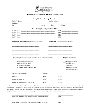 release of confidential medical information form