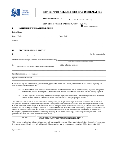 release of medical information consent form