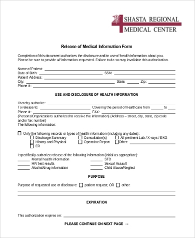 release of medical information form free