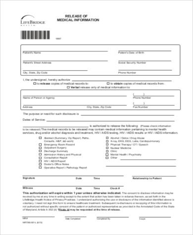 release of medical information form sample