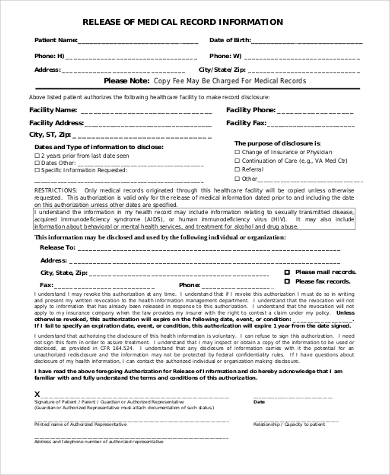 release of medical record information form