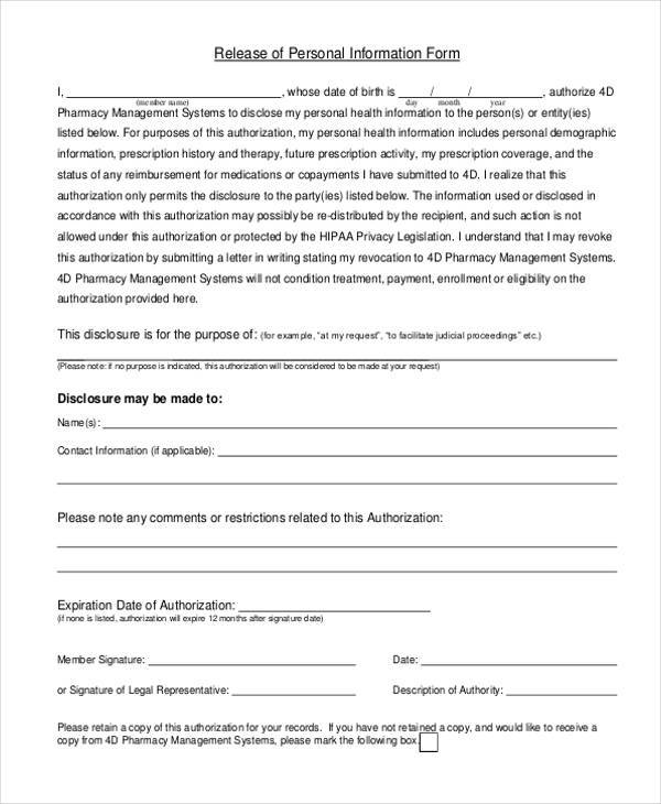 Release Of Personal Information Form Release Of Information Form
