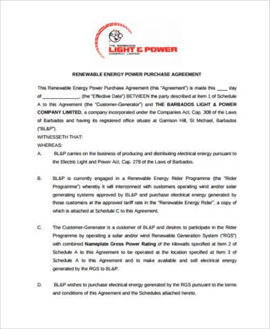 renewable power purchase agreement form