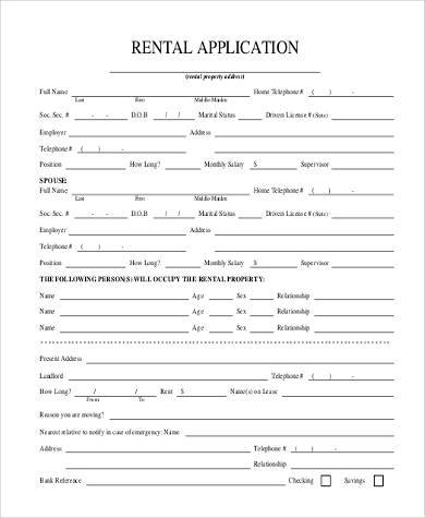 rent agreement application form
