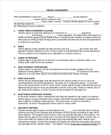rent agreement form format in word