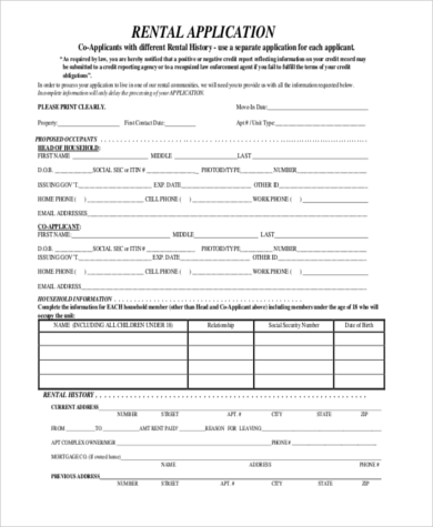 Rent Application Sample   Free Documents In Word Pdf