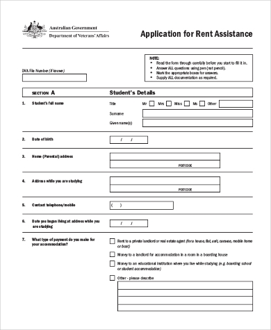 Sample Rent Application Form   Examples In Word Pdf