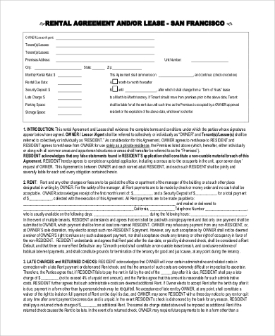 rent lease agreement form