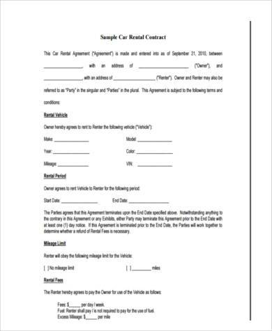 Rent To Own Car Contract Form