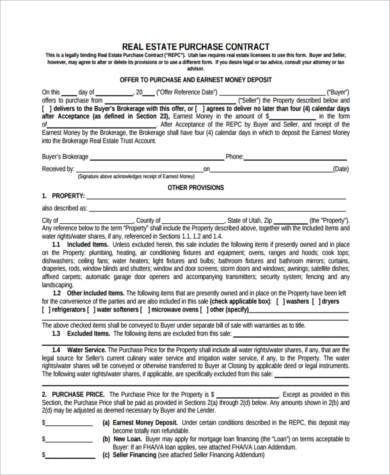rent to own real estate contract form