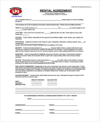 rental agreement form example