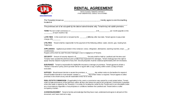 rental agreement form sample
