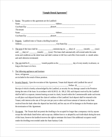 Rental Agreement Letters - 8+ Free Documents In Word, Pdf