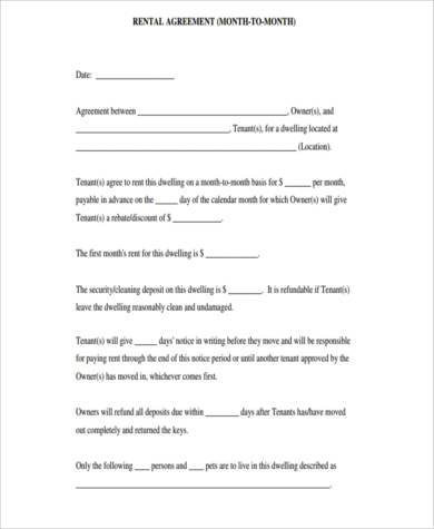 Amazing Month To Month Rental Agreement Form Design Ideas